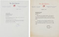 Baseball Collectibles:Others, 1956 Don Larsen and 1963 Yogi Berra Signed Letters (2)....