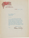 Baseball Collectibles:Others, 1915 Charles Comiskey Signed Letter. ...