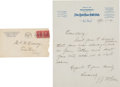Baseball Collectibles:Others, 1933 John McGraw Handwritten, Signed Letter....