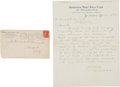 Baseball Collectibles:Others, 1905 Connie Mack Handwritten Signed Letter & Signed Envelope. ...