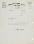 Baseball Collectibles:Others, 1932 Rogers Hornsby Typed Signed Letter. ...
