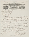 Baseball Collectibles:Others, Circa 1912 Zack Wheat Handwritten, Signed Letter....