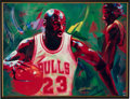 """Basketball Collectibles:Others, Circa 2000 Michael Jordan Signed UDA """"In the Paint"""" Giclee by Beninati. ..."""