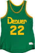 Basketball Collectibles:Uniforms, Early 1980's Glen Gondrezick Game Worn Denver Nuggets St. Patrick'sDay Jersey and Shorts....