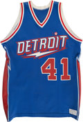 Basketball Collectibles:Uniforms, 1980-81 Terry Tyler Game Worn Detroit Pistons Jersey and Shorts,With Rare 35th Anniversary Patch....
