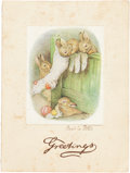 Books:Children's Books, [Beatrix Potter]. Autograph Beatrix Potter Christmas Card. Circa 1938. Signed by Potter on front of card, additionally i...