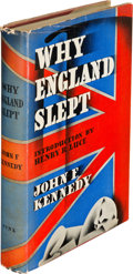 Books:Biography & Memoir, John F. Kennedy. Why England Slept. New York: Wilfred Funk,1940. First edition, second printing, inscribed by...