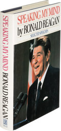 Books:Biography & Memoir, Ronald Reagan. Speaking My Mind. New York: Simon andSchuster, [1989]. First edition, signed by Reagan, and date...