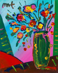 Fine Art - Painting, American:Contemporary   (1950 to present)  , Peter Max (American, b. 1937). Flowers in Green Vase, 2000.Acrylic on canvas. 20 x 16 inches (50.8 x 40.6 cm). Signed u...
