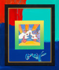 Fine Art - Painting, American:Contemporary   (1950 to present)  , Peter Max (American, b. 1937). Cosmic Runner, 2008. Acrylicon canvas with hand-painted mat accent. 27-1/4 x 24-1/2 inch...