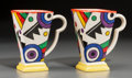 Ceramics & Porcelain, British:Contemporary   (1950 to present)  , A Pair of Chelsea Works Moorland Art Deco N Lightning Mugs,late 20th century. Marks: Moorland, CHELSEA WORKS ... (Total: 2Items)