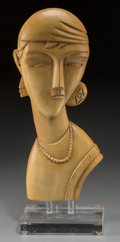 Decorative Arts, Continental, An Art Deco Painted Wood Bust of a Woman with Stand, 20th century.20-3/8 inches high (51.8 cm) (with stand). ...