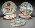 Asian:Japanese, Five Japanese Painted Ceramic and Lustreware Table Items, 20thcentury. Marks: (various marks). 10 inches wide (25.4 cm) (la...(Total: 5 Items)