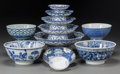 Asian:Chinese, Twenty-Eight Japanese and Chinese Blue and White CeramicDinnerwares, late 20th century. Marks: (various marks). 3-1/4inche... (Total: 28 Items)