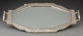 Decorative Arts, French, A French Art Deco Silvered Metal Mirrored Tray, circa 1925. Marks:DEPOSE, F.P. 930, MADE IN FRANCE. 22-1/4 inches long ...
