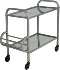 Furniture , An Art Deco-Style Silvered Metal and Mirrored Bar Cart, 20th century. 27-5/8 h x 30 w x 14-1/2 d inches (70.2 x 76.2 x 36.8 ...