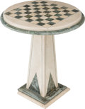 Furniture , A Marble Inlaid Games Table, 20th century. 28-1/2 inches high x 25 inches diameter (72.4 x 63.5 cm). ...