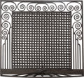 Decorative Arts, French, An Art Deco Wrought Iron Firescreen in the Style of Edgar Brandt,circa 1925. 33-1/4 h x 36-1/4 w inches (84.5 x 92.1 cm). ...