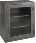 Furniture , A Glazed Brushed Steel Cabinet, late 20th century. 30 h x 25 w x 13 d inches (76.2 x 63.5 x 33.0 cm). ...