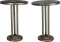 Furniture : Continental, A Pair of Josef Hoffmann Chromed Metal Side Tables with MirroredTops, Vienna, Austria, circa 1910. 19 inches high x 13-1/2 ...(Total: 2 Items)