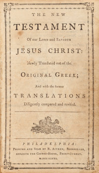 [Bible in English]. The New Testament of Our Lord and Saviour Jesus Christ: Newly Tr