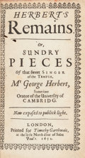 Books:Religion & Theology, George Herbert. Herbert's Remains. Or, Sundry Pieces ofthat sweet Singer of the Temple, Mr. George Herbert, Sometime...