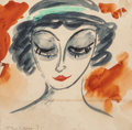 Works on Paper, János Vaszary (Hungarian, 1867-1939). Portrait of a Woman, 1924. Watercolor on paper. 9 x 9 inches (22.9 x 22.9 cm) (sig...