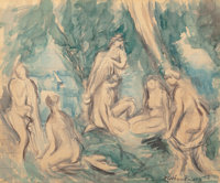 Achille Emile Othon Friesz (French, 1879-1949) The Bathers, 1923 Watercolor and pencil on paper 1