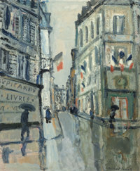 Bernard Lamotte (French, 1903-1983) Rue St. Honoré Oil on canvas 21-1/2 x 18 inches (54.6 x 45.7