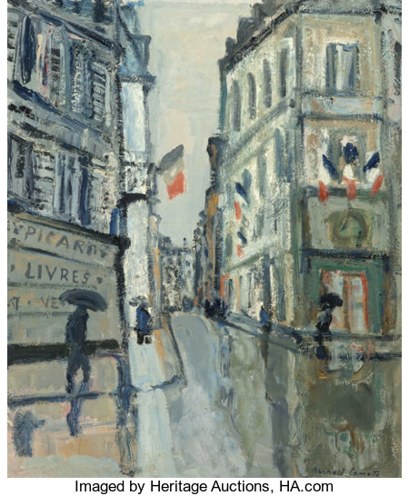 Bernard Lamotte (French, 1903-1983) Rue St. Honoré Oil on canvas 21-1/2 x 18 inches (54.6 x 45.7 cm) Signed lower ri...