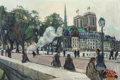Fine Art - Painting, European:Modern  (1900 1949)  , Bernard Lamotte (French, 1903-1983). Le Pont Notre-Dame,Paris. Oil on canvas. 21-1/4 x 32 inches (54.0 x 81.3 cm).Arti...