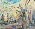 Fine Art - Painting, European:Contemporary   (1950 to present)  , René Zimmermann (French, 1904-1991). A Tree-Lined Street.Oil on canvas. 18-1/4 x 22 inches (46.4 x 55.9 cm). Signed low...