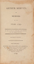 Books:Literature Pre-1900, Charles Brockden Brown. Arthur Mervyn, or Memoirs of the Year1793. Philadelphia: 1799. First edition....