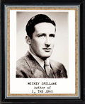 Books:Furniture & Accessories, [Mickey Spillane]. Publisher's Publicity Photograph, and the Original Negative, for Mickey Spillane's First Novel I, the...