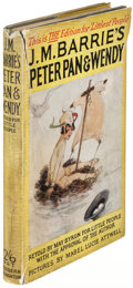 """Books:Children's Books, J.M. Barrie. Peter Pan & Wendy. London: [circa 1927].Hodder & Stoughton """"Littlest People"""" edition, with author'..."""