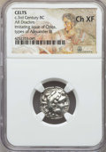 Ancients:Greek, Ancients: EASTERN CELTS. Imitating Alexander III (336-323 BC). ARdrachm. NGC Choice XF....