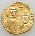 Ancients:Byzantine, Ancients: Constans II & Constantine IV (654-668). AV solidus(4.36 gm). Nearly EF....
