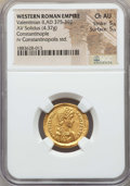 Ancients:Roman Imperial, Ancients: Valentinian II (AD 375-392).AV solidus (4.37 gm).NGC Choice AU 5/5 - 5/5....