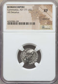 Ancients:Roman Imperial, Ancients: Commodus (AD 177-192).AR denarius. NGC XF,brushed....