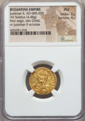 Ancients:Byzantine, Ancients: Justinian II (685-695). AV solidus (4.48 gm). NGC AU 2/5- 4/5....