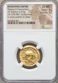 Ancients:Byzantine, Ancients: Tiberius II Constantine (AD 578-582). AV solidus (4.47gm). NGC Choice MS 4/5 - 5/5. ...