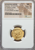 Ancients:Byzantine, Ancients: Heraclius (610-641). AV solidus (4.49 gm). NGC MS 5/5 -3/5....