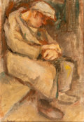 Fine Art - Painting, American:Modern  (1900 1949)  , Bernard Gussow (American, 1881-1957). Seated Male Figure,1947. Oil on canvas. 12 x 8-1/4 inches (30.5 x 21 cm). Signed ...