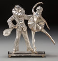 Decorative Arts, Continental, An Art Deco Silvered Metal Figural Group: Pierrot andBallerina, 20th century. 11-1/2 inches high x 11 inches wi...