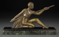 Bronze:European, A Voltas Art Deco Gilt Bronze Figure with Granite Base:Hunter. Marks: Voltas. 11-1/2 inches long (29.2 cm)....