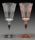 Art Glass:Other , Twelve Art Deco Stenciled Glass Wine Glasses, circa 1930. 7-7/8inches high (20.0 cm) . ... (Total: 12 Items)