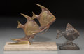 Paintings, Two Bronze and Iron Angelfish Groups, mid to late 20th century. 9-3/4 h x 11 w x 4-3/4 d inches (24.8 x 27.9 x 12.1 cm) (lar... (Total: 2 Items)