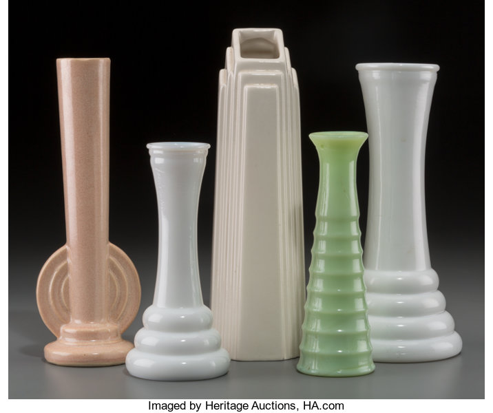 A Group Of Five Art Deco Ceramic And Milk Glass Bud Vases Lot