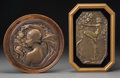 Sculpture, Two Art Deco Bronze Plaques: Eve in the Garden of Eden, 20th century. Marks: DELAUNAY, A1388. 9-7/8 x 6-3/4 ... (Total: 2 Items)