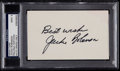 Autographs:Index Cards, Jackie Robinson Signed Index Card, PSA Mint 9. ...